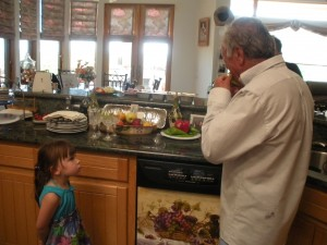 First, Nonno tries one while Little Miss watches.